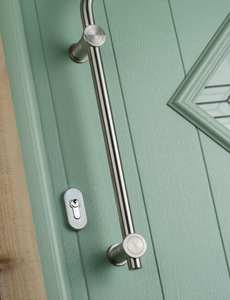 Secure locking door with modern handle.